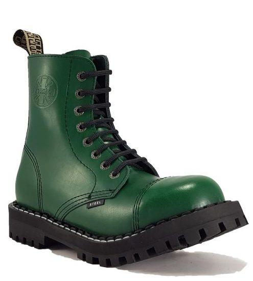 Steel - 8 soros full zöld bakancs