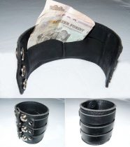 Bőr pénztárcás karkötő