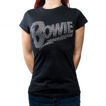 David Bowie strasszköves női póló